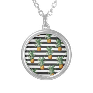 Collier rayures d'ananas grises