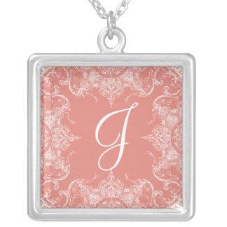 Collier Rose de corail de monogramme de mariage de remous