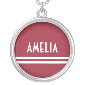 Collier Rouge doux blanc de monogramme nommé de rayures de