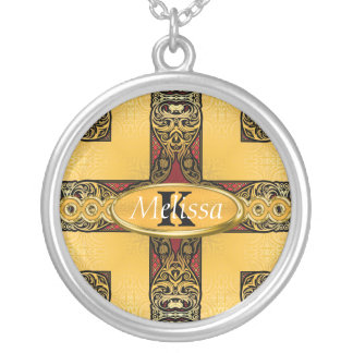 Collier Rouge royal et monogramme fleuri d'or
