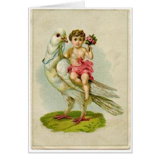 Colombe d'équitation d'ange carte de vœux