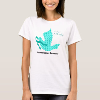 Colombe d'espoir - ruban turquoise (cancer du col t-shirt