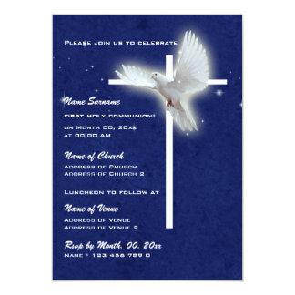 Colombe religieuse de confirmation de communion de carton d'invitation  12,7 cm x 17,78 cm