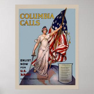 Colombia roept de Vintage WW1 Dienstneming van het Poster