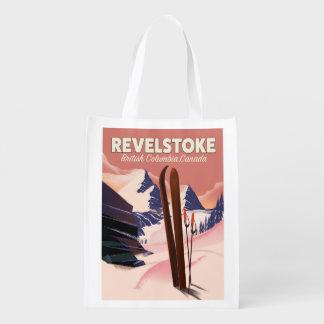 Colombie-Britannique de Revelstoke, affiche de ski Sac D'épicerie