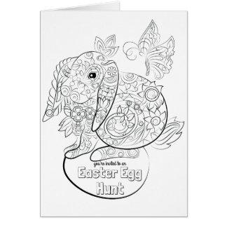 Colorez votre propre invitation d'oeuf de pâques carte de vœux