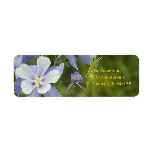 Columbine bleu fleurit l'adresse de retour étiquettes d'adresse retour