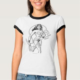 Combattant noir et blanc de femme de merveille t-shirt