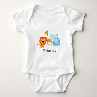 combinaison blanche de bébé d'amis animaux body