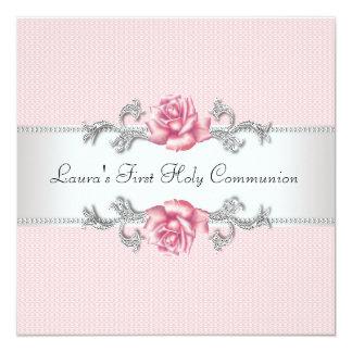 Communion de filles de rose de rose première carton d'invitation  13,33 cm