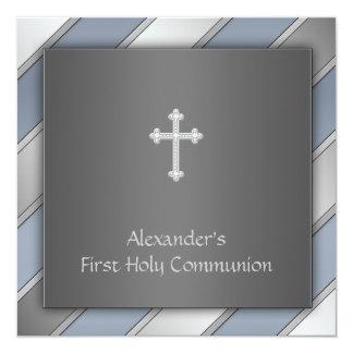 Communion de garçons de rayure bleue première carton d'invitation  13,33 cm