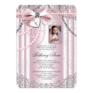 Communion de photo croisée rose de filles première carton d'invitation  11,43 cm x 15,87 cm