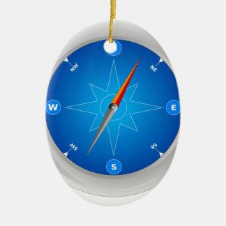 Compass Safari Navigation Ornement Ovale En Céramique
