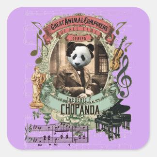 Compositeur animal drôle Chopin de panda de Sticker Carré