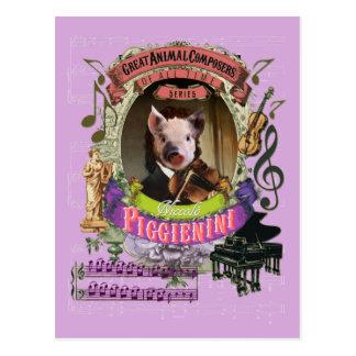 Compositeur animal Paganini de porc drôle de Cartes Postales