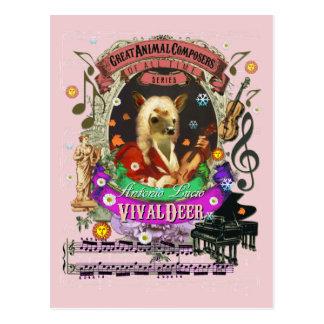 Compositeur animal Vivaldi de faon drôle de cerfs Cartes Postales