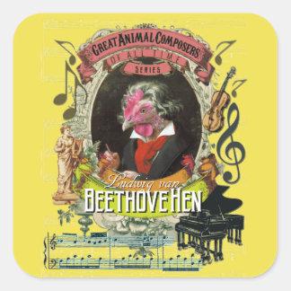 Compositeurs animaux Beethoven de poule de Sticker Carré