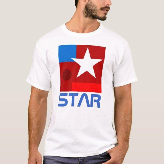 Composition blanche en abrégé sur étoile t-shirt