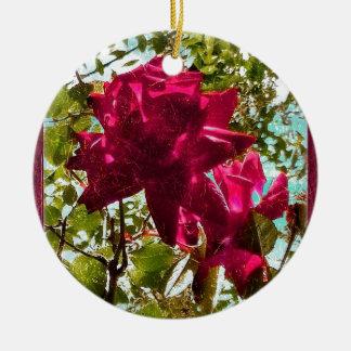 Composition florale en style grunge ornement rond en céramique