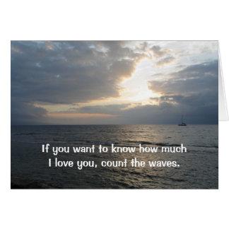 Comptez la carte de vagues je t'aime