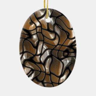 Conception abstraite de mer de Brown Ornement Ovale En Céramique