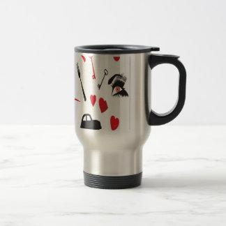 Conception aléatoire rouge d'objets mug de voyage