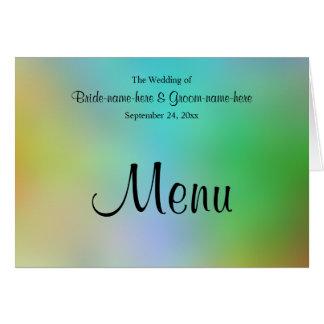 Conception assez colorée de menu de mariage