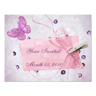 Conception assez rose personnalisable de papillon carton d'invitation 10,79 cm x 13,97 cm