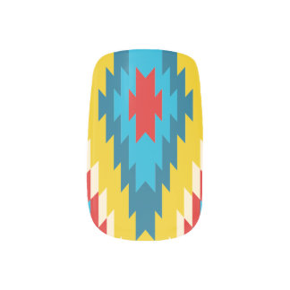 Conception bleue rouge de jaune tribal aztèque de stickers pour ongles