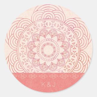 Conception chic de mandala de Boho de monogrammes Sticker Rond