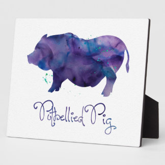 Conception d'aquarelle de porc de Potbellie de Plaque Photo