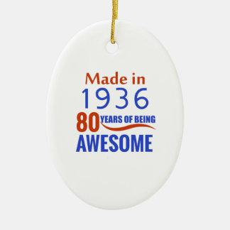 conception de 80 anniversaires ornement ovale en céramique