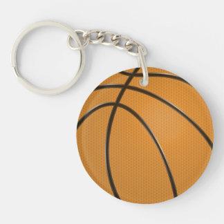 Conception de basket-ball dans orange et noir porte-clé rond en acrylique double face