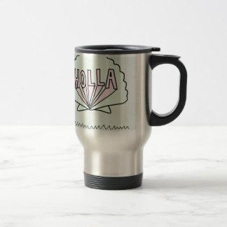 """Conception de coquillage de hippie de """"HOLLA"""" Mug De Voyage En Acier Inoxydable"""