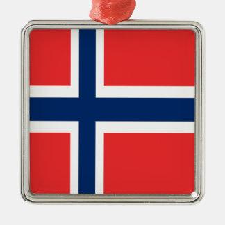 Conception de drapeau de la Norvège sur le produit Ornement Carré Argenté