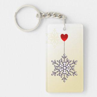 Conception de forme de flocon de neige et de coeur porte-clé  rectangulaire en acrylique une face