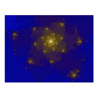 Conception de fractale de bleu et de couleur d'or carte postale