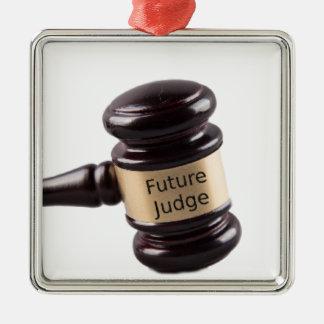 Conception de Gavel pour les juges et les avocats Ornement Carré Argenté