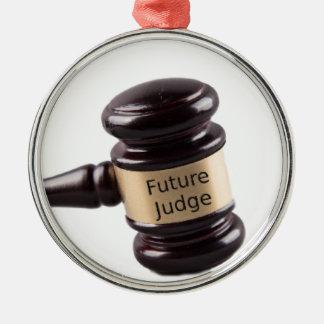 Conception de Gavel pour les juges et les avocats Ornement Rond Argenté