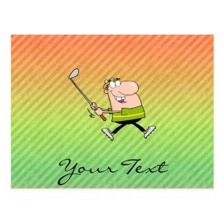 Conception de golfeur de bande dessinée carte postale