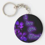Conception de maman de pourpre je t'aime porte-clef