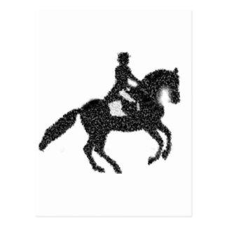 Conception de mosaïque de cheval et de cavalier de carte postale