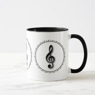 Conception de note de musique de clef triple mug