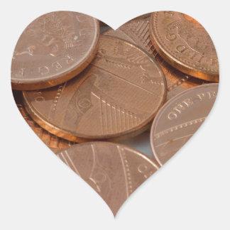 conception de penny autocollant en cœur