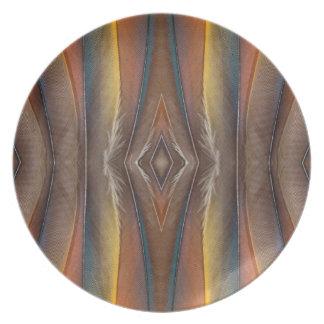 Conception de plume d'ara d'écarlate assiettes en mélamine