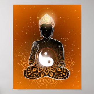 Conception de Ying Yang de méditation de Bouddha Poster