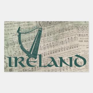 Conception d'harpe de l'Irlande, harpe irlandaise Sticker Rectangulaire