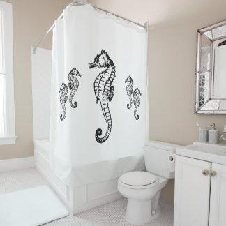 Conception d'hippocampe sur le rideau en douche