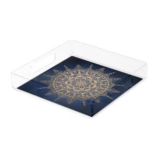 Conception d'or bleue de mandala de plateau carré