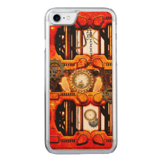Conception d'or rouge de Steampunk Coque En Bois iPhone 7